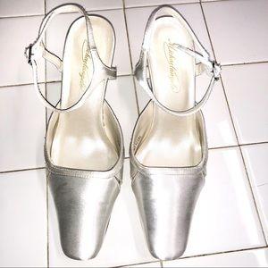 Michaellangelo white ankle strap satin low heel